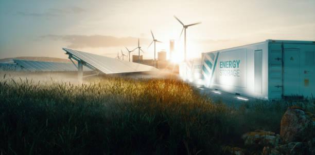 Smart Grid erneuerbare Energie-System-Lösung für zukünftige smart e-Städte bei Sonnenuntergang. 3D-Rendering – Foto