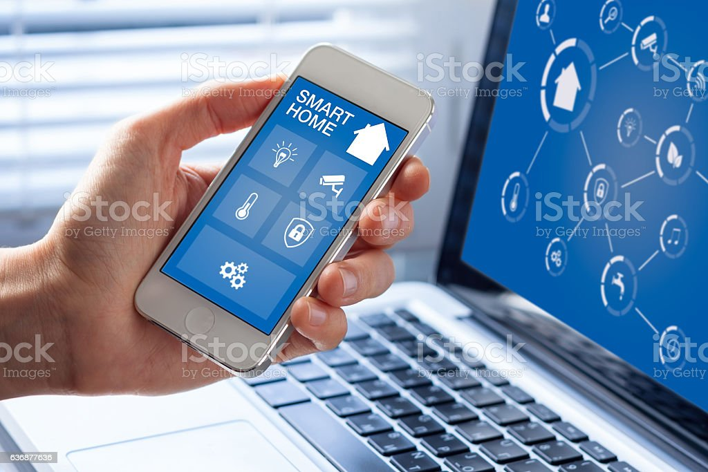 Smart home automation app interface on mobile phone, artificial intelligence stock photo