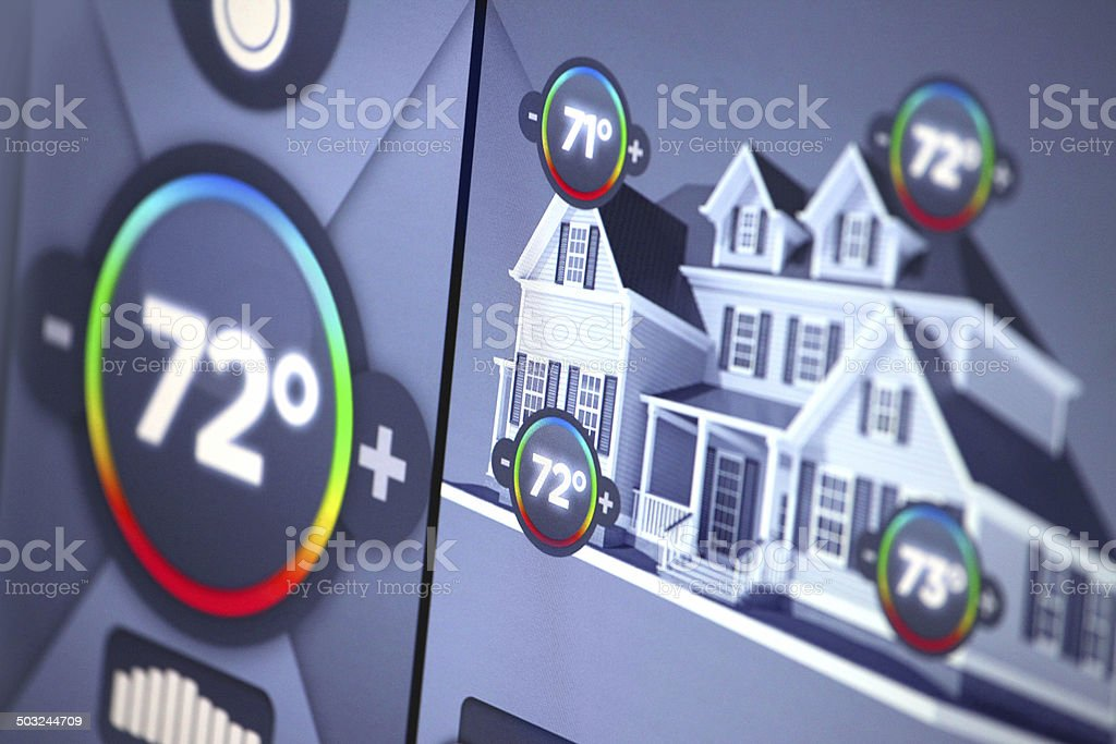 Smart home automation: building temperature control panel display, Fahrenheit degrees stock photo