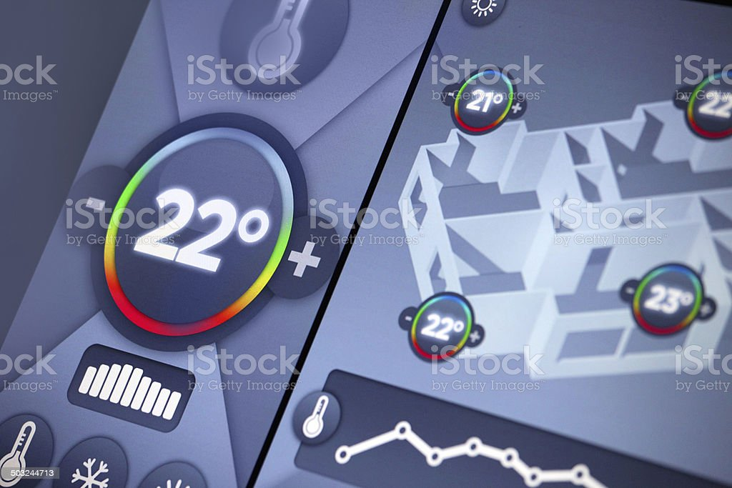 Smart home automation: building temperature control panel display, Celsius degrees stock photo