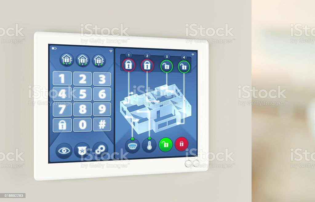 Smart home automation: house alarm security system stock photo