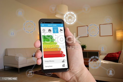 1158812288istockphoto Smart home automation mobile phone control security technology 1127562492