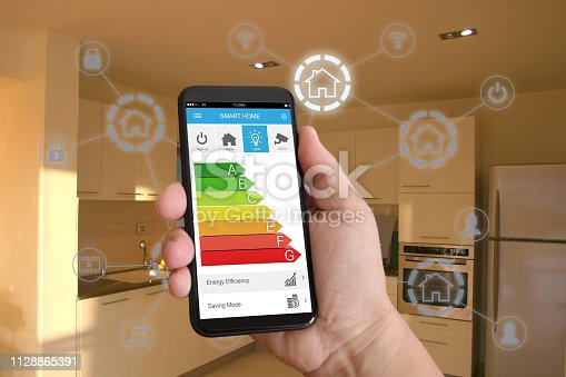 1158812288istockphoto Smart home automation mobile phone control security technology 1128865391