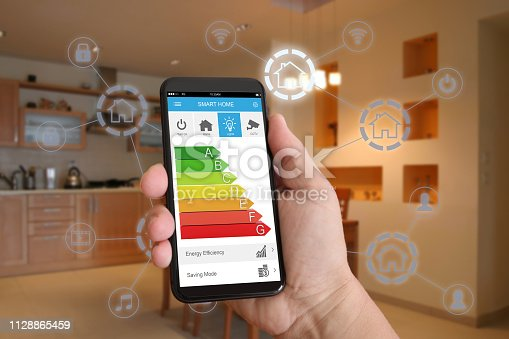 1158812288istockphoto Smart home automation mobile phone control security technology 1128865459