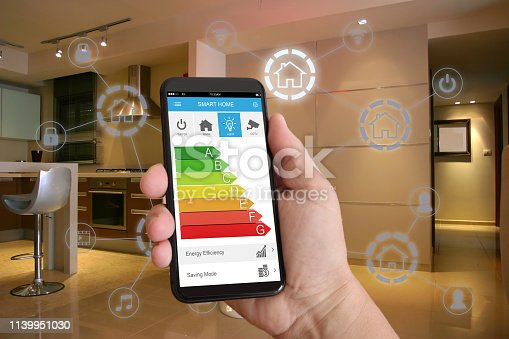 1158812288istockphoto Smart home automation mobile phone control security technology 1139951030