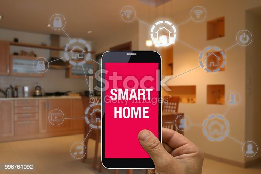 1158812288istockphoto Smart home automation mobile phone control security technology 996761092