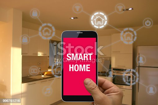 1158812288istockphoto Smart home automation mobile phone control security technology 996761216