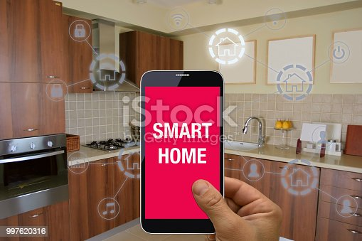 1158812288istockphoto Smart home automation mobile phone control security technology 997620316