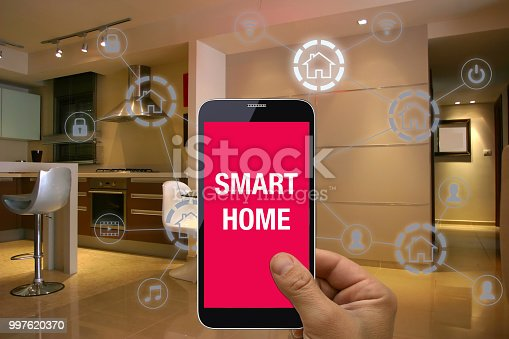 1158812288istockphoto Smart home automation mobile phone control security technology 997620370