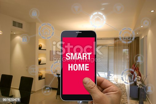 1158812288istockphoto Smart home automation mobile phone control security technology 997620428