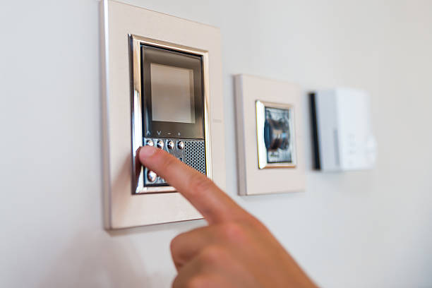 Smart home automation Smart home automation smart thermostat stock pictures, royalty-free photos & images