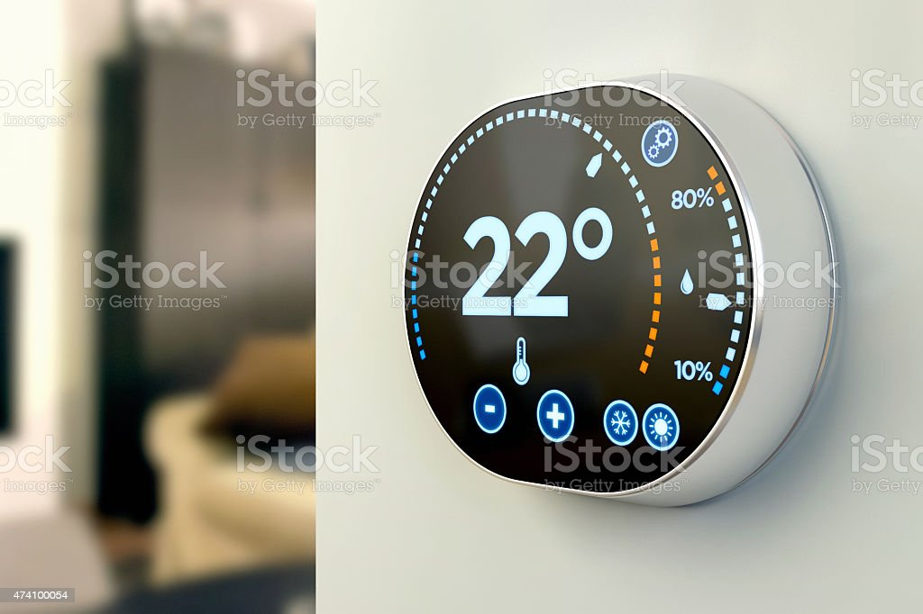smart home automation system celsius temperature multimedia thermostat stock photo more. Black Bedroom Furniture Sets. Home Design Ideas
