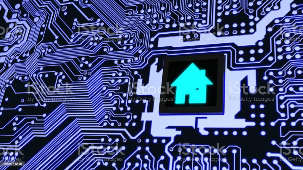 Smart home circuit board future house concept royalty-free stock photo