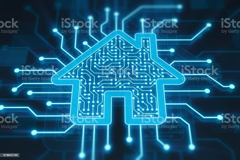 Smart home concept on digital display stock photo