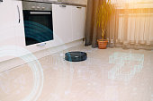 smart home concept, remote control of a robot vacuum cleaner via the Internet and detection of kitchen pollution by artificial intelligence
