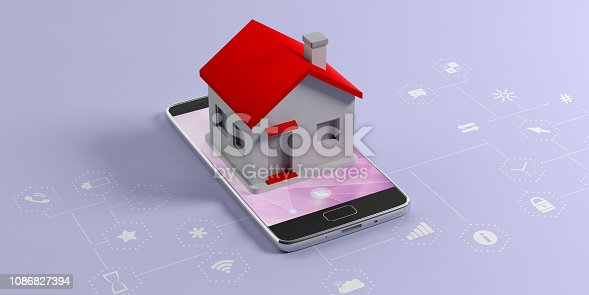 istock IOT, smart home concept. Small house on a mobile phone, blue background with apps signs. 3d illustration 1086827394
