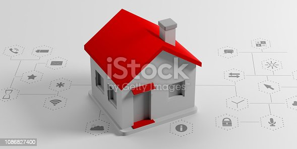 istock IOT, smart home concept. Small house on white background with apps signs. 3d illustration 1086827400