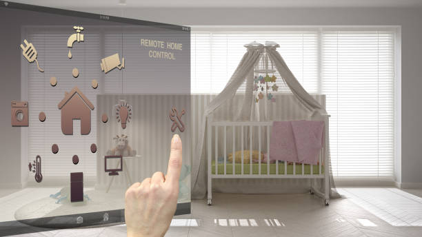 Smart home control concept, hand controlling digital interface from mobile app. Blurred background showing scandinavian nursery with canopy cradle, architecture interior design stock photo