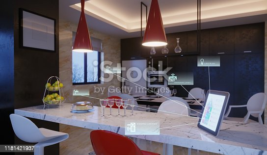 Smart home control with icons in kitchen interior in the evening. ( 3d render )