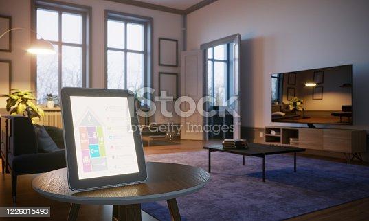 1158812288 istock photo Smart Home Control In Scandinavian Home Interior 1226015493