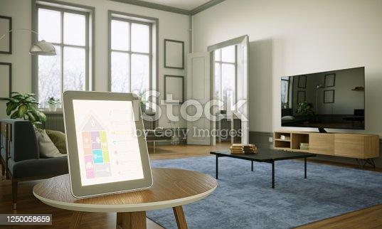 1158812288 istock photo Smart Home Control In Scandinavian Home Interior 1250058659