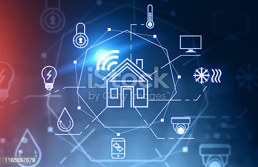 istock Smart home interface and icons 1165697679