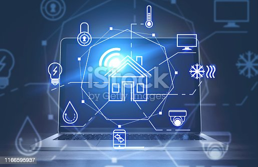 istock Smart home interface and laptop 1166595937