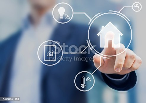 istock Smart home interface with control from smartphone app 543047254