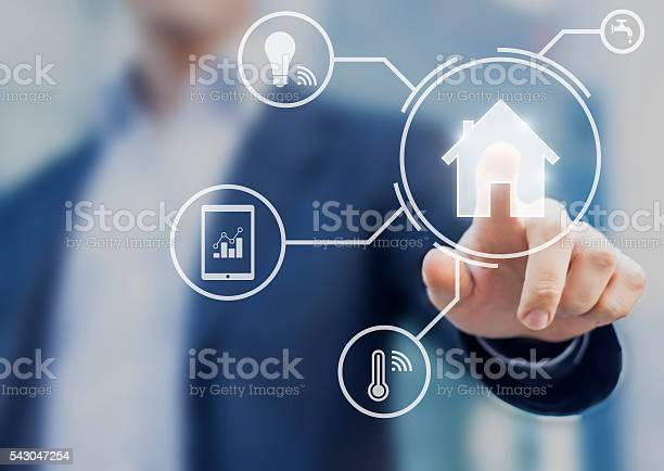 Smart Home Interface With Control From Smartphone App Stock Photo - Download Image Now