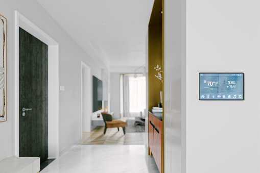 Interior of a modern house with smart automation system.