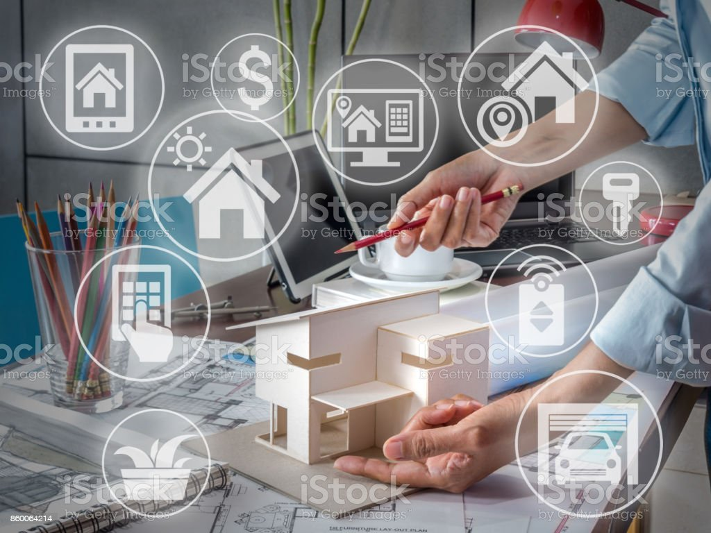 Smart home renovation & real estate with technology concept stock photo