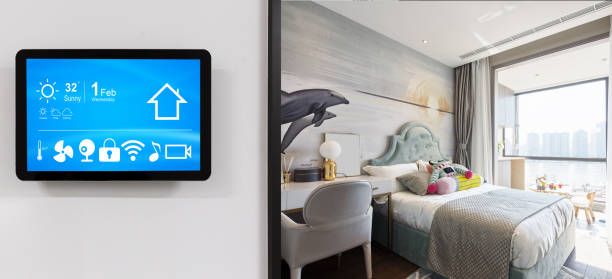 smart home system on intelligence screen with background stock photo