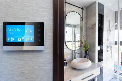 istock smart home system on intelligence screen with background 923634184