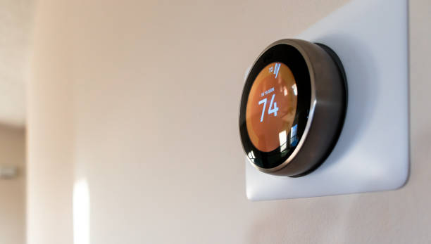 Smart Home Thermostat Smart Home thermostat home automation stock pictures, royalty-free photos & images