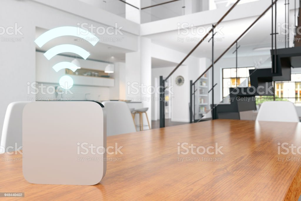 Smart Home voice assistant stock photo