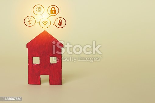 istock Smart home with icon technology Innovation internet Network Concept on background, Copy space. 1155967560