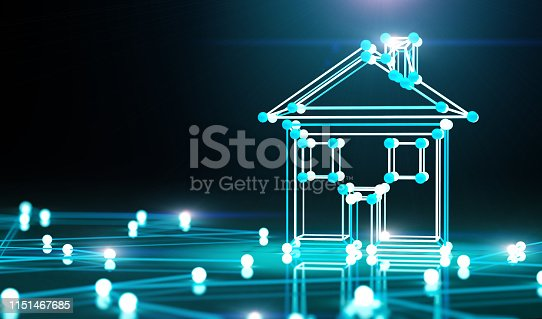 istock Smart house and net.3d illustration. 1151467685