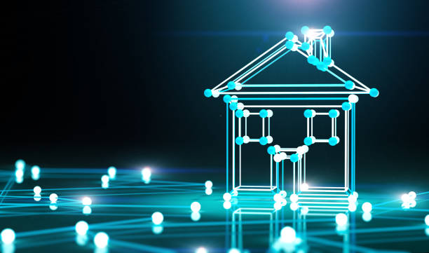 Smart house and net.3d illustration. stock photo