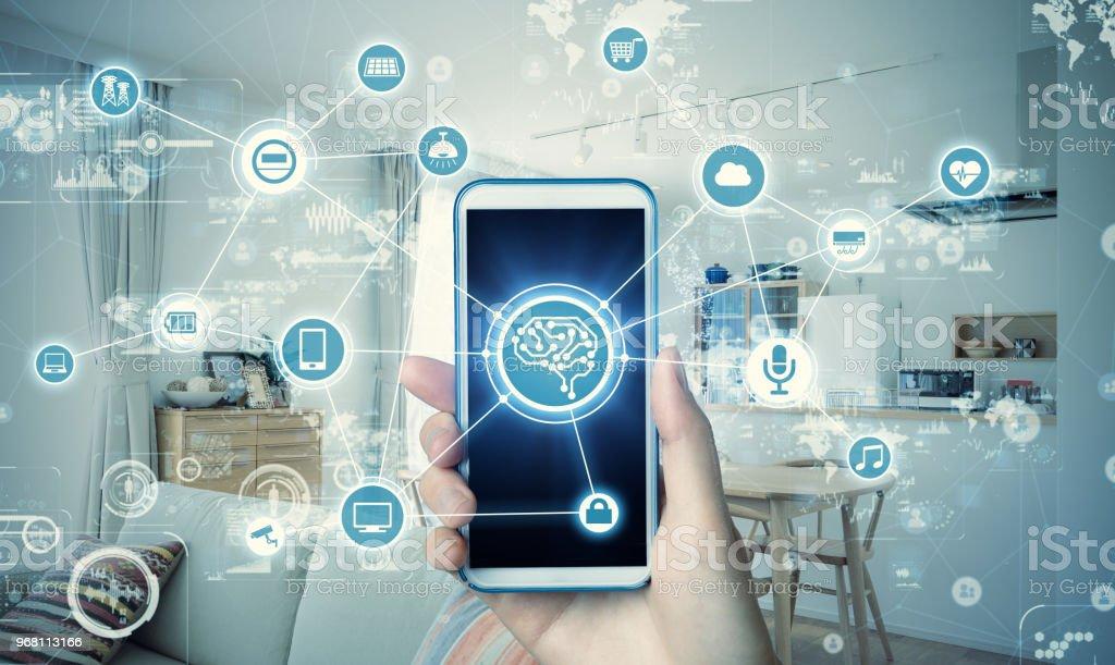 Smarta hus koncept. Kommunikationsnätverk av residence. Energiledningssystem. IoT. AI. bildbanksfoto
