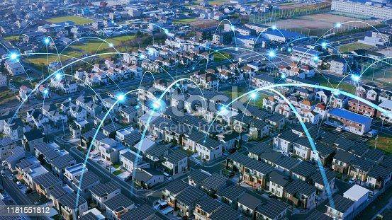1129543866 istock photo Smart house concept. Smart grid. Renewable energy. 1181551812