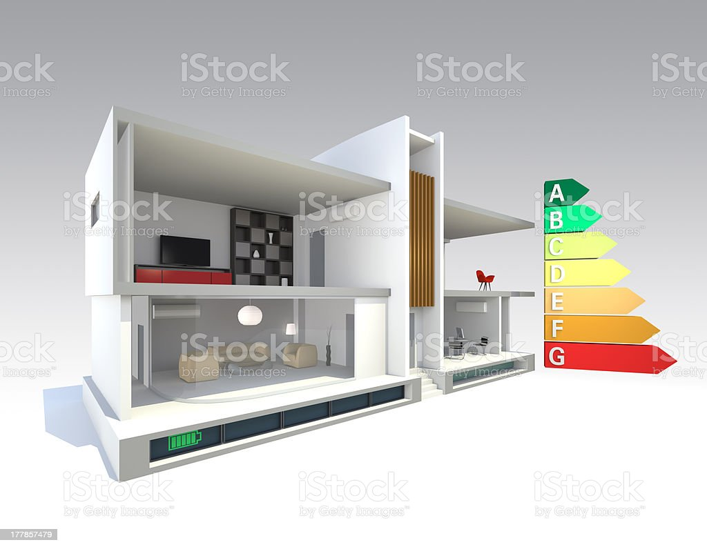 smart house concept with energy classification chart stock photo
