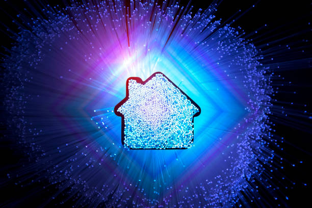 Smart house home technology with fiber optic connection stock photo