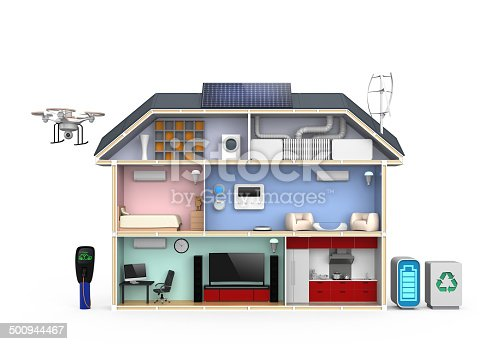 istock Smart house with energy efficient appliances, solar panel system 500944467