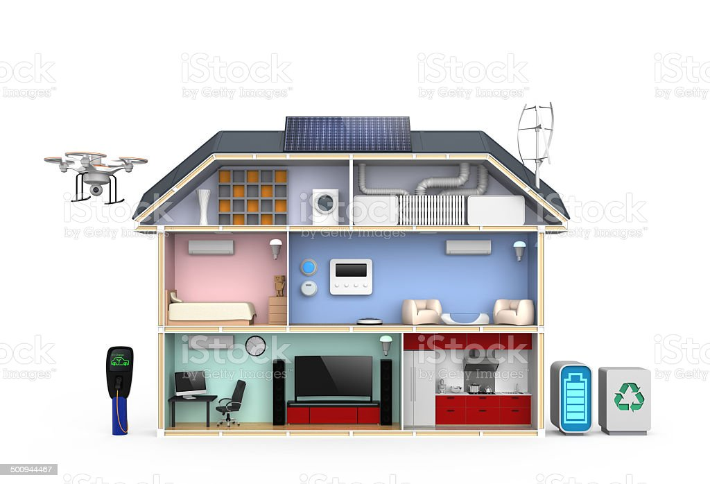 Smart house with energy efficient appliances, solar panel system stock photo