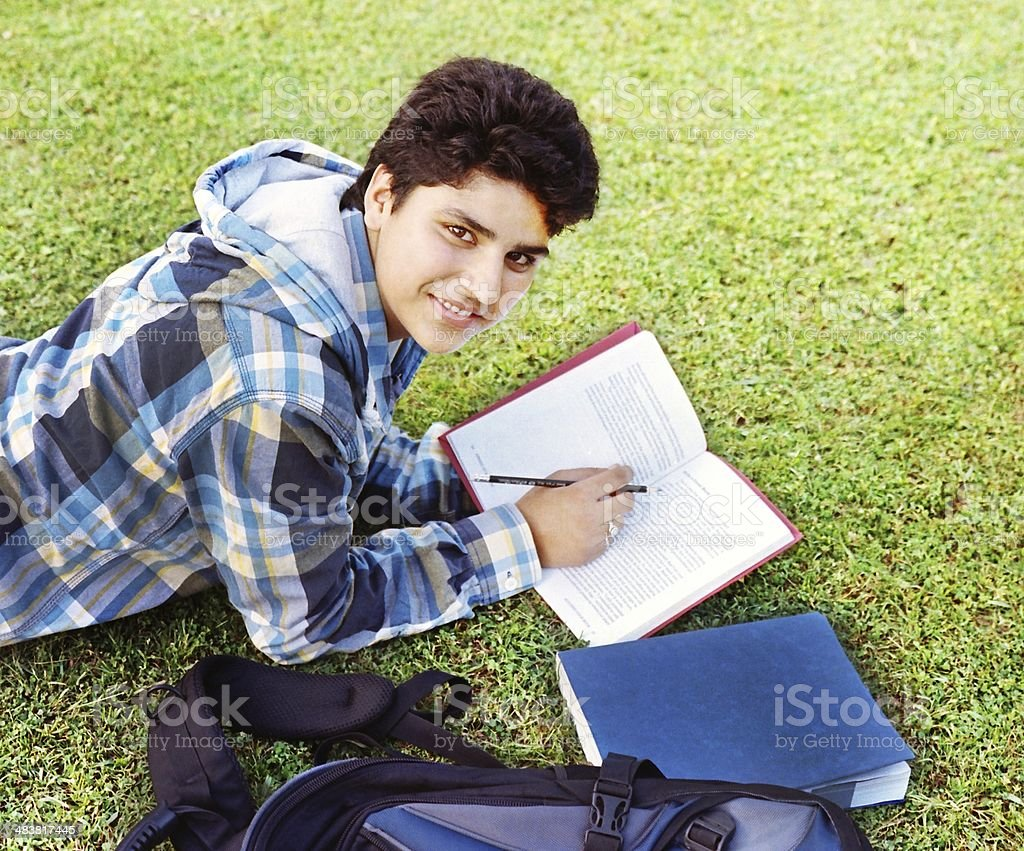 smart indian boy writing notes over the grass stock photo