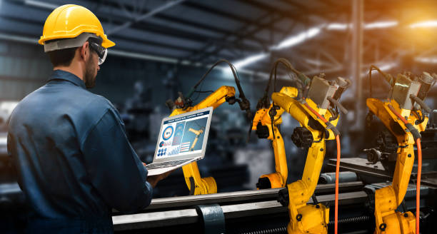 Smart industry robot arms for digital factory production technology Smart industry robot arms for digital factory production technology showing automation manufacturing process of the Industry 4.0 or 4th industrial revolution and IOT software to control operation . manufacturing stock pictures, royalty-free photos & images