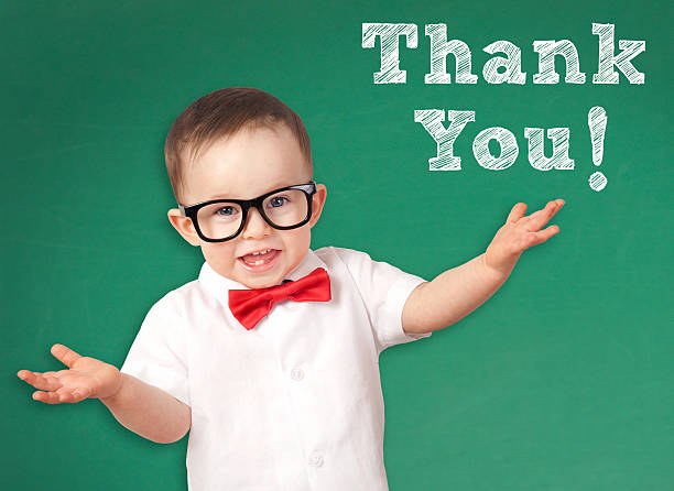smart kid with a thank you message - thank you background 個照片及圖片檔