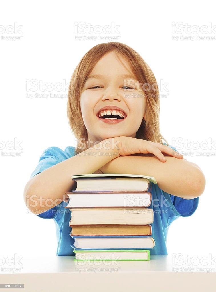 Smart laughing boy royalty-free stock photo