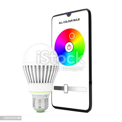 istock Smart LED Bulb Controlled by Mobile Phone Smartphone. 3d Rendering 1202043198
