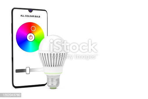 istock Smart LED Bulb Controlled by Mobile Phone Smartphone. 3d Rendering 1202043760